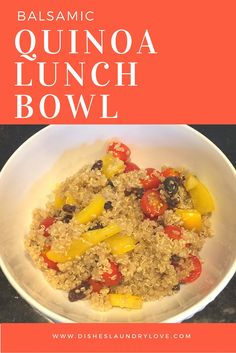 Dishes, Laundry, and Love: Balsamic Quinoa Lunch Bowl- This quinoa bowl is a healthy lunch solution with yellow bell peppers, tomatoes, raisins, and balsamic vinaigrette dressing. It's so easy to make, stores in the refrigerator for up to 5 days, and is a nutritious food. I like to divvy it up into smaller containers and pack it for a week worth of lunches. Easy, healthy recipe!
