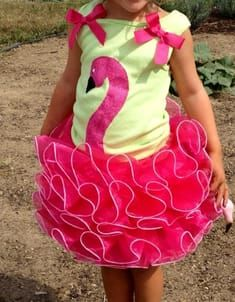 flamingo - idea for costume (pink ruffled tutu plus could put over pink leotard with cardboard thing that goes up to face or maybe a mask of some kind)