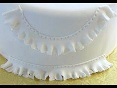 How to Make Fondant Ruffles or Fondant Frills or Gum Paste (Gumpaste) Ruffles or Frills Fondant Ruffles, Ruffle Cake, Fondant Icing, Fondant Flowers, Fondant Cakes, Cupcake Cakes, Fondant Recipes, Fondant Baby, Fondant Tips