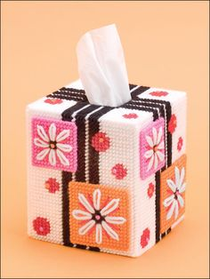 Flower Power, Plastic canvas, tissue box cover