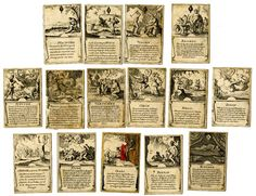 Incomplete educational pack with 22 of 52 playing-cards with mythological subjects. All the cards have scenes from the lives of various characters in mythology, with descriptive lines of text below. Etching, one card with some hand-colouring Backs plain 18th Century