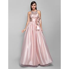 A-line Jewel Floor-length Stretch Satin And Tulle Evening/Prom Dress (605471) – USD $ 117.99