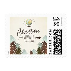 Adventure awaits Stamps Travel Places World map - baby gifts child new born gift idea diy cyo special unique design