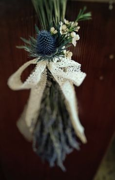 Dried Lavender Pew End Arrangements, finished with Guipure Lace.