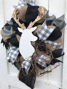 Buffalo Paid Deer Baby Nursery Decor in Gray, White and Black If you are - Table Settings Baby Deer Nursery, Woodland Nursery Decor, Woodland Baby, Woodland Theme, Burlap Table Settings, Sunflower Nursery, Sunflower Burlap Wreaths, Deer Baby Showers, Nursery Themes