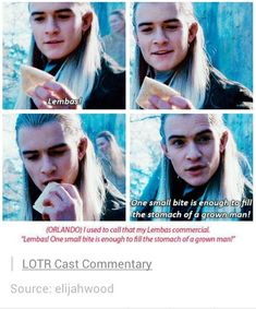Funny Lord of the Rings Memes - Legolas shills Lembas bread in LOTR Narnia, O Hobbit, Into The West, Jrr Tolkien, Thranduil, Middle Earth, Movies Showing, Lotr, Funny Pictures