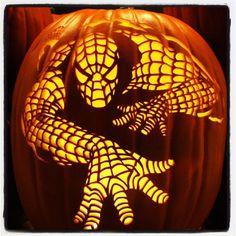 Spiderman jackolanterns. Pumpkin Carving with PowerHouse Growers @Powerhouse Growers http://ultimate-pumpkin-stencils.com/?ap_id=PowerHouse