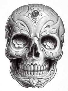 Skull Day of the Death - Dia de los Muertos Chicano, Tattoo Sketch, Totenkopf Tattoos, Candy Skulls, Sugar Skulls, Tattoo Zeichnungen, Skull Design, Design Art, Skull Tattoos