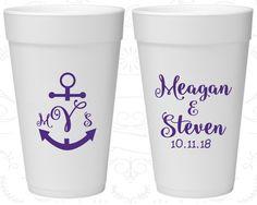 Anchor Wedding, Imprinted Foam Cups, Nautical Wedding, Monogram Wedding, Styrofoam Cups (14)