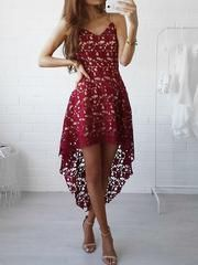 c028da09f504 Red V-neck Dipped Hem Spaghetti Straps Cami Lace Dress - M   Red Midi