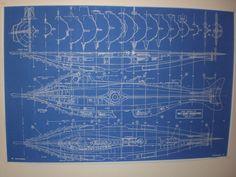 nautilus blueprints | NAUTILUS DISNEY SUBMARINE BLUEPRINT MODEL PLAN 20,000 LEAGUES
