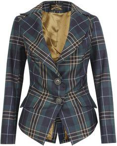 Vivienne Westwood Anglomania Blue Green Jabot Tartan Jacket