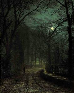 poboh: A Yorkshire Lane in November, John Atkinson Grimshaw. English (1836 - 1893)