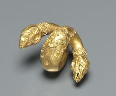 """cma-greek-roman-art: """"Hair Ringlet with Ram Head, c. Century BC, Cleveland Museum of Art: Greek and Roman Art Size: Overall: cm in."""