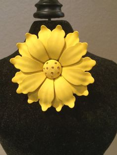 1950's Floral Brooch Pin   Yellow Susan or Sun by KMSCollectibles