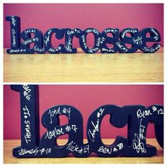 Lacrosse SportWORDS are a perfect room decoration for any lax guy! Give it as a lacrosse coach gift at the end of the season and have your whole team sign.