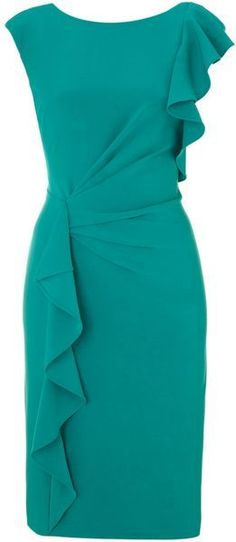 Stitch Fix- like the ruffle detailing on the dress. Perfect sheath cut for work. Color is cute. Also like Magenta, fushia, burgundy, black, navy colors. Adrianna Papell Ruffle Front Detail Dress in Green (jade). Trendy Dresses, Elegant Dresses, Beautiful Dresses, Casual Dresses, Short Dresses, Fashion Dresses, Mode Glamour, Winter Dress Outfits, Dress Winter