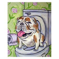 BULLDOG art PRINT - 8x10 modern dog art print, bathroom art,bulldog print, dog print, $12.49