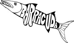 Barracuda Fish Colouring Page For Kids