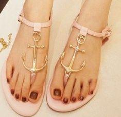 shoes anchor nautical flat sandals sandals nude sandals cute sandals thong sandals flats