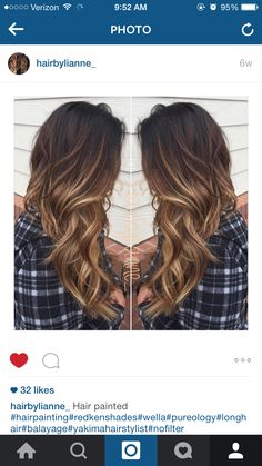 chocolate brown and caramel blonde balayage highlights