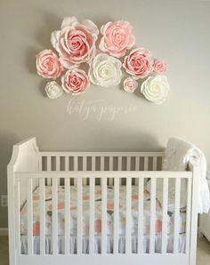 Nursery Wall Paper Flowers Flower Display Window Crepe White And Pink Garden Party Decor Giant