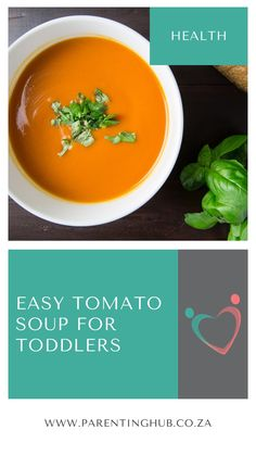 This comforting tomato soup can be made in less than 20 minutes and enjoyed by both you and your toddler. Don't forget to make the cheesy bread dippers – sure to be the most fun part of the meal for your toddler!
