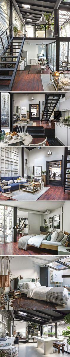 A workshop turned into a modern loft in Madrid, Spain, by interior designer Celia Gómez #moderninteriordesignideas #modernhomedesignlayout