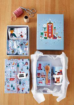 S-ryhmä // Lotta Nieminen Christmas Gift Box, Christmas Gift Wrapping, Christmas Design, Craft Packaging, Holiday Themes, Christmas Illustration, Packaging Design Inspiration, Lotta Nieminen, Merry And Bright