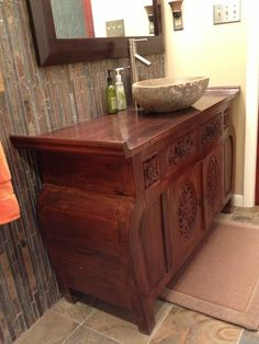 Indonesian teak console cabinet as bath vanity from Gado Gado. Thanks to our client for the photo.