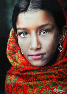 "Here is my new drawing based on a photography by David Lazar (http://davidlazarphoto.com/) who is an enormous talented travel photographer from Brisbane Australia. He kindly approved the usage of his breathtaking photography called ""Girl with Green Eyes and Headscarf"". The drawing was created with coloured pencil (Prismacolor Premier, Polychromos Faber Castell, Caran d'Ache Luminance) on Bristol Drawing Board (21 x 29,7 cm, 250g/m²). Creation Date: May 2015"