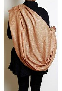 Shahmina,The Carpet Cellar,Shahmina Embroidered Jaldar Shawl - Natural Camel Brown and Peach Salmon
