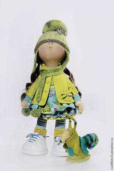 Купить Царевна Л. - оливковый, голубой цвет, зелёный, кукла ручной работы, вязание спицами
