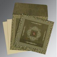 Exclusive Green Woolly Rustic Wedding Card