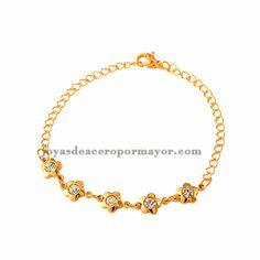 pulsera de flores en cristal en acero inoxidable color oro dorado -SSBTG392022