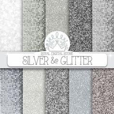 Silber Glitter digitalem Papier: Silber & von royaldigitalstore