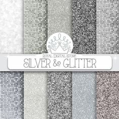 Silver glitter digital paper: SILVER & by royaldigitalstore