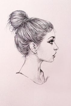 Drawing On Creativity Messy bun girl sketch art work - Tumblr Sketches, Easy Drawings Sketches, Sad Drawings, Girl Drawing Sketches, Portrait Sketches, Cool Art Drawings, Pencil Art Drawings, Sketch Art, Easy Portrait Drawing