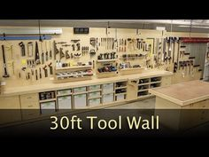Ultimate 30ft tool wall showing off all my hand tools and some power tools ( festool systainers ). My custom storage system allows me to store my hand planes...