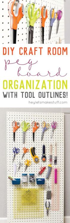 Peg board organization is a great way to clear off your desk and organize your sewing and crafting tools. Outline all your tools so you know exactly where they go. - Diy Crafts for The Home Diy And Crafts Sewing, Sewing Projects For Kids, Diy House Projects, Diy Crafts, Sewing Diy, Wood Projects, Craft Projects, Craft Ideas, Diy Peg Board