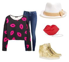 """""""Hugs and Kisses"""" by musicheartbeatjj ❤ liked on Polyvore featuring 7 For All Mankind, H&M and NIKE"""
