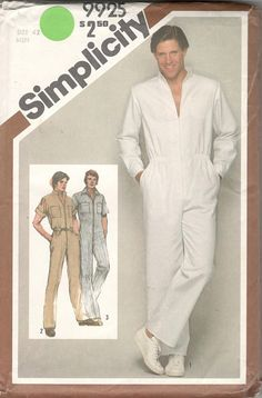 2d5978fb235 Simplicity 9925 1980s Mens Zip Front Jumpsuit Pattern Stand Up Collar Adult  Vintage Coveralls Uniform Sewing Pattern Chest 38