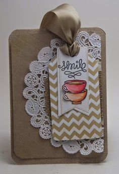 """smile coffee card with Lawn Fawn """"Love you a latte"""" and May Arts Silk Ribbon"""