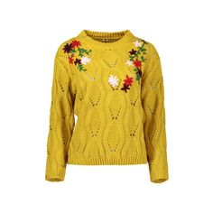 Cut Out Floral Embroidered Sweater (£17) ❤ liked on Polyvore featuring tops, sweaters, rosegal, cut out sweater, cutout tops, cut out top, cutout sweaters and yellow top