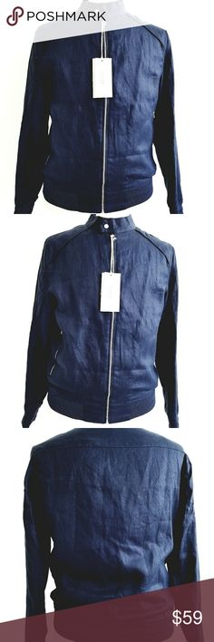 NWT Zara Men Linen Jacket NWT Zara Linen Collection Blue Linen Jacket,  zipper front closure, zipper pockets, fully lined with strappy lining,  stylish and going well with any outfits. NEW never been worn,  100% linen , navy blue Zara Jackets & Coats Military & Field