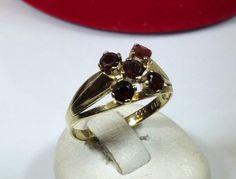 Vintage Ringe - Alter Ring 333 Gold 5 Granatsteine Vintage GR234 - ein Designerstück von Atelier-Regina bei DaWanda