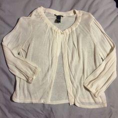 LUCKY BRAND jacket Lightweight beige knit cardigan with threaded ball button. Worn once Lucky Brand Jackets & Coats