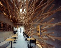 Kengo Kuma Creates a Dynamic Cave-Like Interior Using 2,000 Pi...