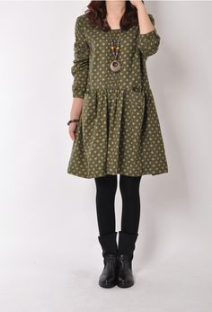 Loose Fitting Cotton Long Shirt Blouse Dress  for Women  - Green - Women Clothing(R) on Etsy, $58.99