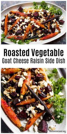 Roasted Vegetable Goat Cheese Raisin Side Dish